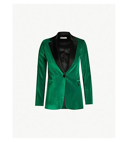 ALICE & OLIVIA Macey fitted satin-trimmed velvet blazer (Jnpr/blk