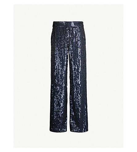 ALICE & OLIVIA Racquel wide-leg sequinned and beaded pants (Blk/spphre