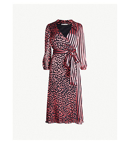 ALICE & OLIVIA Abigail printed devoré and silk-satin midi wrap dress (Leo rose