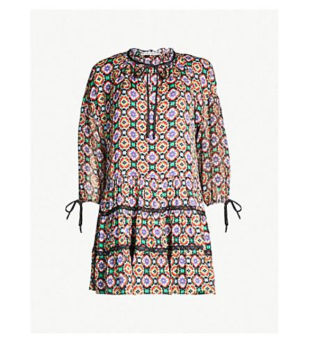 ALICE & OLIVIA Arnette graphic-pattern crepe mini dress (Palace tile multi
