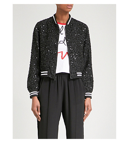 ALICE & OLIVIA Alice + Olivia x The Beatles Lonnie embellished bomber jacket (Black/white