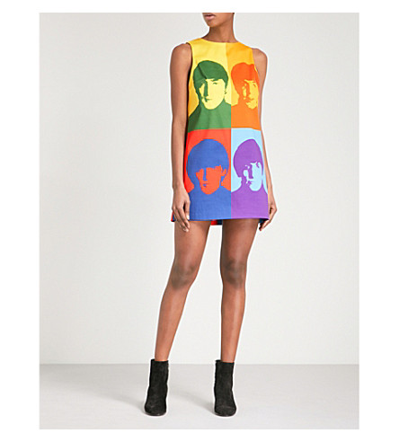 ALICE & OLIVIA Alice + Olivia x The Beatles Clyde printed stretch-cotton mini dress (Pop+beatles