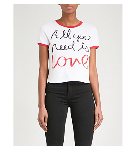 ALICE & OLIVIA Alice + Olivia x The Beatles Rylyn cotton T-shirt (White/multi