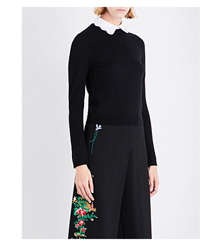 ALICE & OLIVIA Dia wool-blend jumper (Black+white