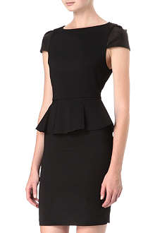 ALICE & OLIVIA Leather-sleeve peplum dress
