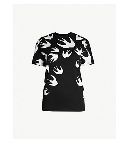 MCQ ALEXANDER MCQUEEN Swallow-motif cotton-jersey t-shirt (Grey+melange