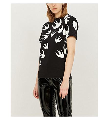 MCQ ALEXANDER MCQUEEN 燕子-主题棉质平纹针织 t-shirt (灰色 + 混杂