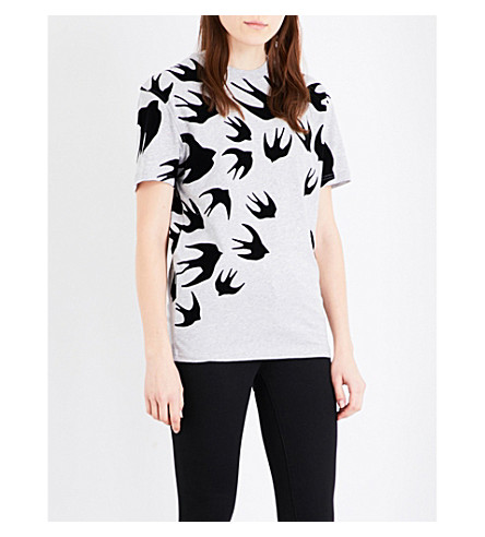 MCQ ALEXANDER MCQUEEN Swallow-print cotton-jersey T-shirt (Mercury+melange