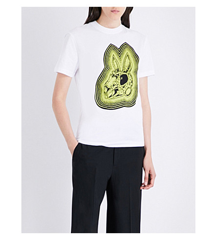MCQ ALEXANDER MCQUEEN Bunny cotton-jersey T-shirt (White/lime