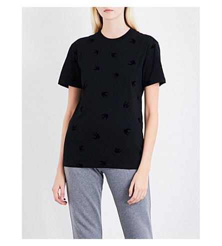 MCQ ALEXANDER MCQUEEN Swallow-flocked cotton-jersey T-shirt (Darkest+black