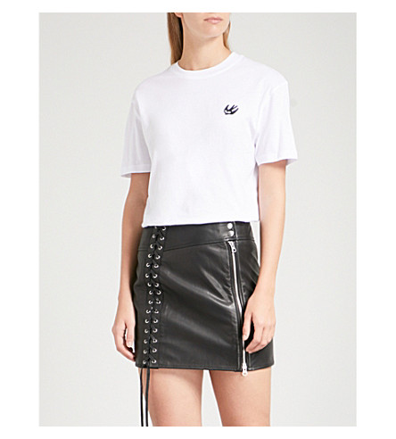 MCQ ALEXANDER MCQUEEN Swallow-patch cotton-jersey T-shirt (Optic+white/black+sw