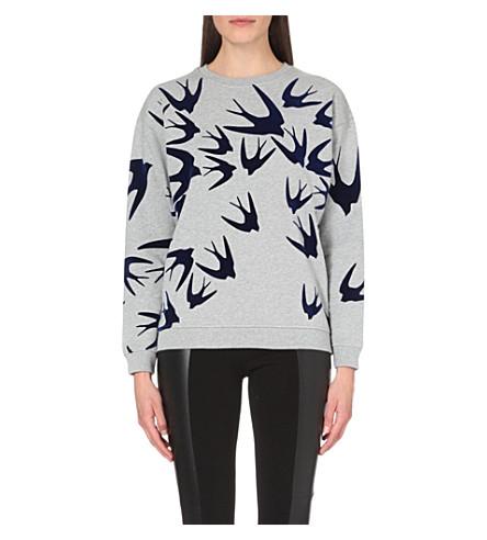 MCQ ALEXANDER MCQUEEN Swallow-motif cotton-jersey sweatshirt (Grey+melange