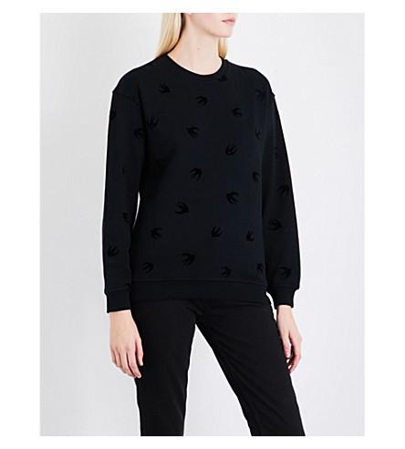 MCQ ALEXANDER MCQUEEN Swallow-flocked cotton-jersey sweatshirt (Darkest+black