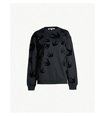 MCQ ALEXANDER MCQUEEN Swallow-flocked cotton-jersey sweatshirt (Darkest black