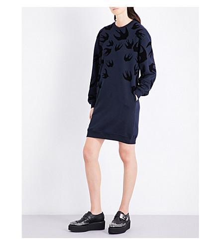 MCQ ALEXANDER MCQUEEN Swallow cotton-blend sweatshirt dress (Ink+dk+black+flock