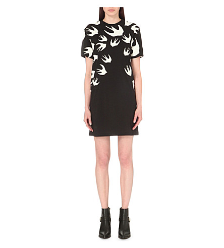 MCQ ALEXANDER MCQUEEN Swallow-print cotton dress (Black
