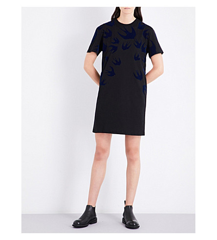 MCQ ALEXANDER MCQUEEN Swallow cotton-jersey T-shirt dress (Black+carbon+navy+floc