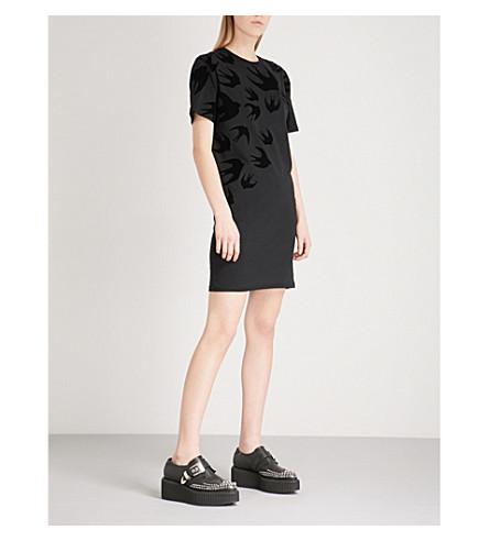 MCQ ALEXANDER MCQUEEN Swallow cotton-jersey T-shirt dress (Darkest+black