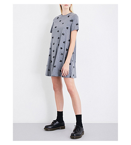MCQ ALEXANDER MCQUEEN Swallow-flocked fit-and-flare cotton-jersey mini dress (Stone+grey+melange