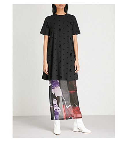 MCQ ALEXANDER MCQUEEN Flocked cotton-blend babydoll dress (Darkest+black
