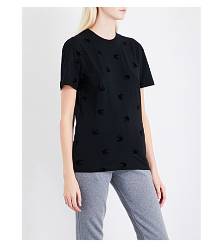 MCQ ALEXANDER MCQUEEN Swallow-embroidered skinny mid-rise jersey jogging bottoms (St+grey+mel+blk+sw