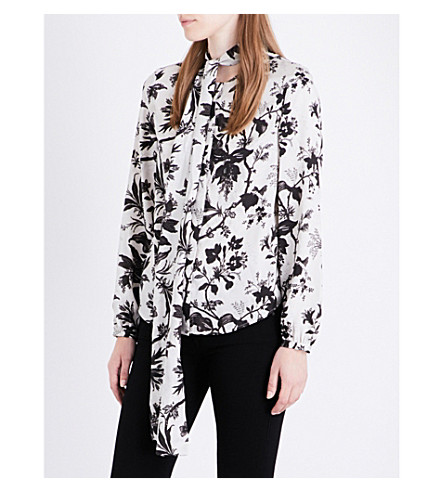 MCQ ALEXANDER MCQUEEN Floral-print satin blouse (Greyscale