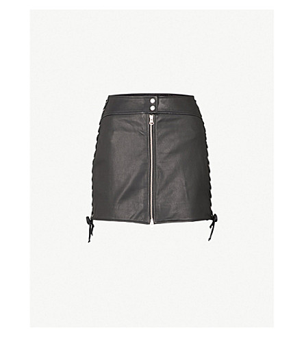 MCQ ALEXANDER MCQUEEN Laced leather mini skirt (Black