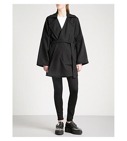 MCQ ALEXANDER MCQUEEN Notch-lapel wool-blend wrap coat (Black