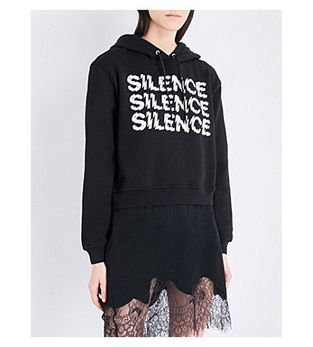 MCQ ALEXANDER MCQUEEN Silence cropped cotton-jersey hoody (Black