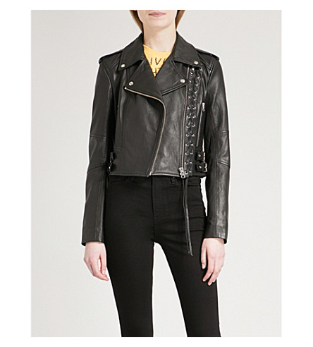 MCQ ALEXANDER MCQUEEN Lace-up front leather jacket (Black