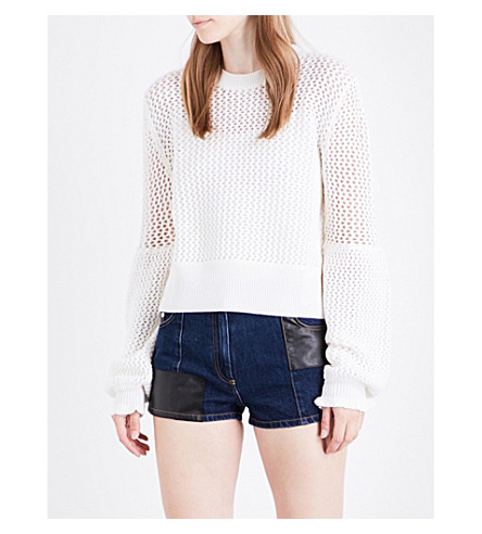 MCQ ALEXANDER MCQUEEN Mesh knitted wool jumper (Ivory