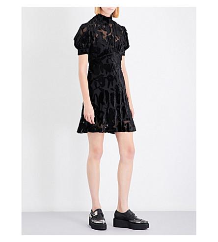 MCQ ALEXANDER MCQUEEN Fit-and-flare devoré dress (Black