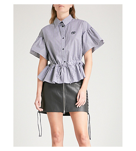 MCQ ALEXANDER MCQUEEN Gingham gathered cotton shirt (Black+and+white+gingha