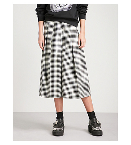 MCQ ALEXANDER MCQUEEN Atami gingham wide-leg wool trousers (Black/white