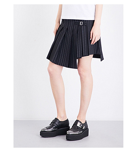 MCQ ALEXANDER MCQUEEN Pinstriped asymmetric wrap-over mid-rise gabardine skirt (Darkest+black
