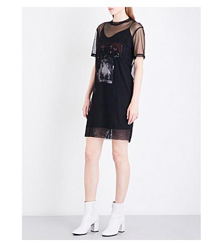 MCQ ALEXANDER MCQUEEN Trompe-l'œil mesh mini dress (Darkest black