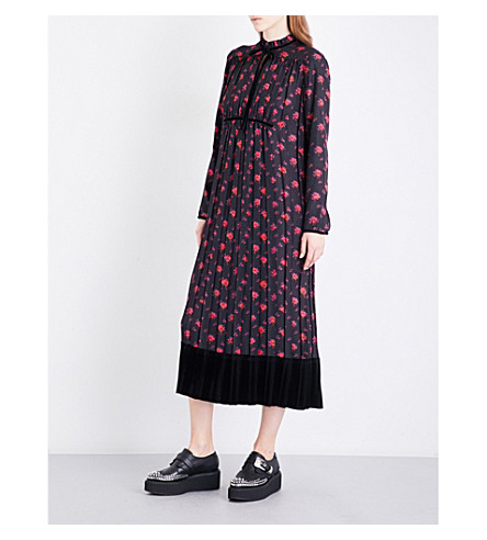 MCQ ALEXANDER MCQUEEN Floral-print silk-satin midi dress (Amp+floral