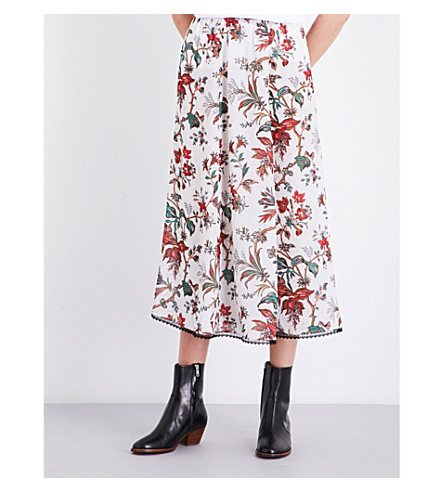 MCQ ALEXANDER MCQUEEN Floral-patterned chiffon skirt (Parchment