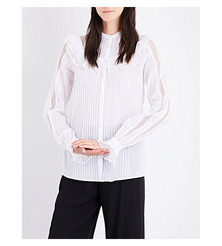 MCQ ALEXANDER MCQUEEN Pintuck cotton shirt (Optic+white