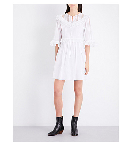 MCQ ALEXANDER MCQUEEN Pintuck cotton dress (Optic+white