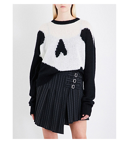 MCQ ALEXANDER MCQUEEN Oversized swallow-intarsia mohair-blend jumper (Darkest+black