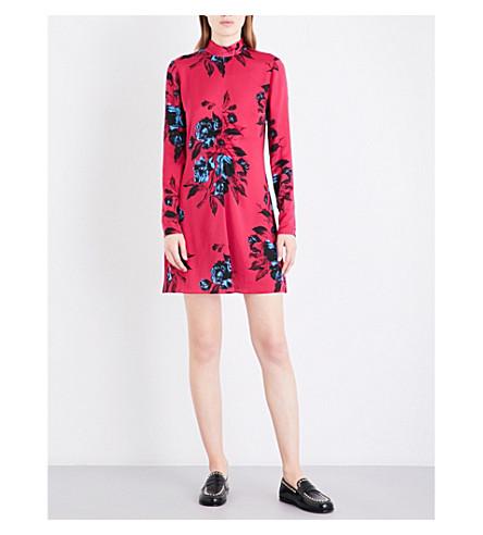 MCQ ALEXANDER MCQUEEN High-neck floral-print satin mini dress (Clash+pink