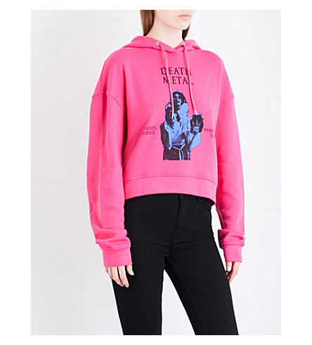 MCQ ALEXANDER MCQUEEN Death metal-print cotton-jersey hoody (Iconice pink
