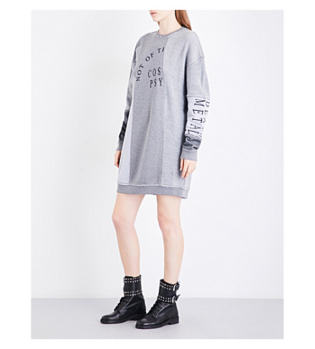 MCQ ALEXANDER MCQUEEN Contrast-panel cotton-jersey and knitted mini dress (Mix+grey+melange