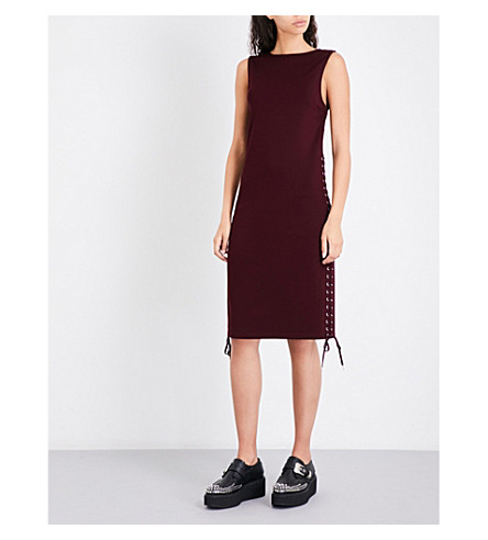 MCQ ALEXANDER MCQUEEN Eyelet-detail sleeveless fitted woven dress (Port