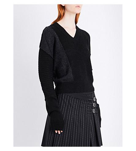 MCQ ALEXANDER MCQUEEN Patchwork wool-blend jumper (Black+charcoal+mel