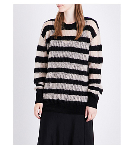MCQ ALEXANDER MCQUEEN Striped knitted wool and mohair-blend jumper (Black+nude