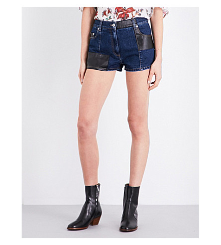 MCQ ALEXANDER MCQUEEN Recycled faux-leather-detailed denim shorts (Indigo