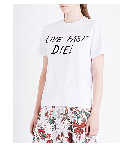 MCQ ALEXANDER MCQUEEN Live Fast cotton-jersey T-shirt (Optic+white