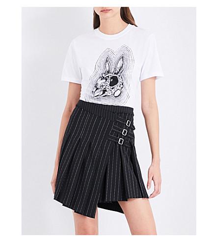 MCQ ALEXANDER MCQUEEN 兔子现在在这里棉质平纹针织衫 t恤衫 (光学 + 白色
